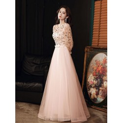 Romantic Floor-length Pink Tulle Evening Dress Crew-neck Zipper Back Long Sleeves Formal Dress With Sequines