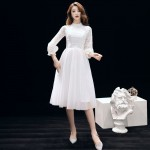 Elegant Medium-length White Tulle Evening Dress Crew-neck Invisible Zipper Back Lace Long Sleeves Formal Dress With Black Sashes New