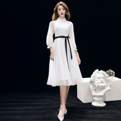 Elegant Medium-length White Tulle Evening Dress Crew-neck Invisible Zipper Back Lace Long Sleeves Formal Dress With Black Sashes