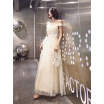 Fashion Floor-length Champagne Tulle Prom Dress Off The Shoulder Spaghetti Straps Lace-up Formal Dress With Sequines New