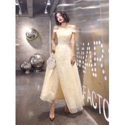 Fashion Floor Length Champagne Tulle Prom Dress Off The Shoulder Spaghetti Straps Lace Up Formal Dress With Sequines