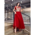 A-line Floor-length Red Tulle Long Sleeves Formal Dress V-neck Invisible Zipper Back Exquisite Embroidery Prom Dress New