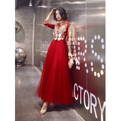 A-line Floor-length Red Tulle Long Sleeves Formal Dress V-neck Invisible Zipper Back Exquisite Embroidery Prom Dress