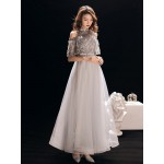 A-line Floor-length Grey Tulle Prom Dress Half Sleeves Fashion Stand Collar Invisible Zipper Back Formal Dress With Beading/Appliques New