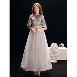 A Line Floor Length Grey Tulle Prom Dress Half Sleeves Fashion Stand Collar Invisible Zipper Back Formal Dress With Beading Appliques