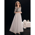 Fashion Floor-length Grey Tulle Half Sleeves Formal Dress Boat-neck Hollow Lace-up Prom Dress With Sequines New