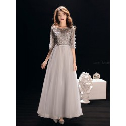 Fashion Floor-length Grey Tulle Half Sleeves Formal Dress Boat-neck Hollow Lace-up Prom Dress With Sequines