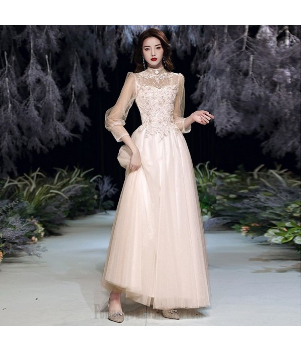 Romantic Floor-length Pink Tulle Evening Dress Half High Collar Lace-up Long Sleeve Formal Dress With Sequines New