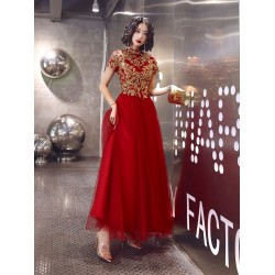 Fashion Floor-length Red Tulle Prom Dress Exquisite Embroidery Invisible Zipper Back Short Sleeves Formal Dress