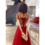 Fashion Floor-length Red Tulle Prom Dress Exquisite Embroidery Invisible Zipper Back Short Sleeves Formal Dress New