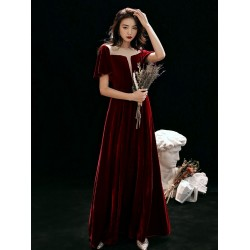 Fashion Floor-length Burgundy Velvet Semi Formal Dress Illusion-neck Hollow Lace-up Short Sleeves Evening Dress