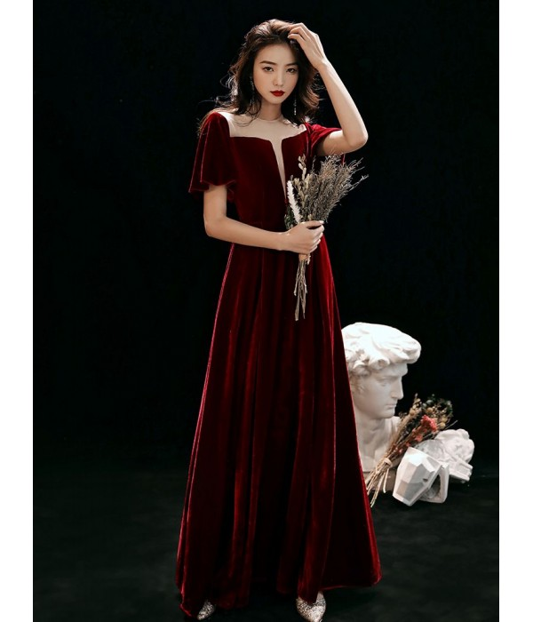 Fashion Floor-length Burgundy Velvet Semi Formal Dress Illusion-neck Hollow Lace-up Short Sleeves Evening Dress New