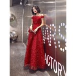 Brilliant Floor-length Red Tulle Prom Dress Off The Shoulder Spaghetti Straps Lace-up Sequined Sparkle & Shine Formal Dress With Sequines New