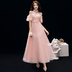 Romantic Medium Length Pink Tulle Evening Dress Fashion Stand Collar Invisible Zipper Back Semi Formal Dress With Sequines Appliques