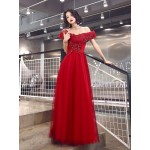 Noble Temperament Floor-length Red Tulle Semi Formal Dress Off The Shoulder Lace-up Prom Dress With Sequines New