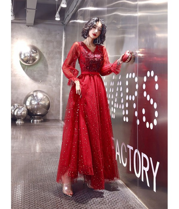 Brilliant Floor-length Red Tulle Long Sleeves Formal Dress V-neck Lace-up Prom Dress With Sequines New