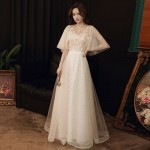 Fashion Elegant Floor-length Light Champagne Tulle Evening Dress Stand Collar Zipper Back Half Sleeves Formal Dress With Sequines New