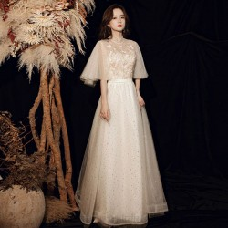 Fashion Elegant Floor Length Light Champagne Tulle Evening Dress Stand Collar Zipper Back Half Sleeves Formal Dress With Sequines