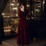Fashion Floor-length Burgundy Velvet Off The Shoulder Zipper Back Half Sleeves Semi Formal Dress With Sashes New