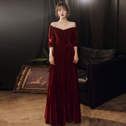 Fashion Floor Length Burgundy Velvet Off The Shoulder Zipper Back Half Sleeves Semi Formal Dress With Sashes