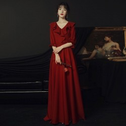 A Line Floor Length Burgundy Chiffon Lotus Leaf Edge V Neck Zipper Back Half Sleeves Semi Formal Dress