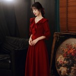 A-line Floor-length Burgundy Chiffon Lotus leaf edge V-neck Zipper Back Half Sleeves Semi Formal Dress New