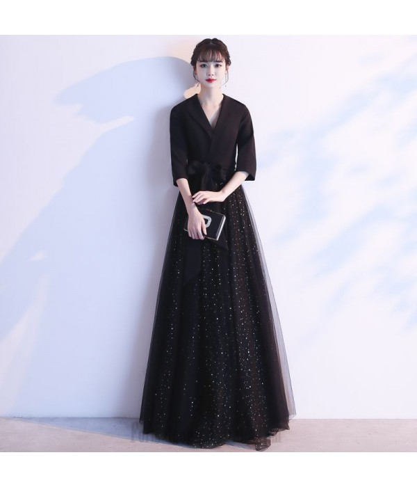 Noble Temperament Floor-length Black Tulle V-neck Invisible Zipper Back Long Sleeves Formal Dress With Sequines/Sashes New