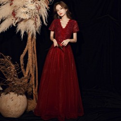 Brilliant Floor Length Red Tulle V Neck Hollow Lace Up Zipper Back Short Sleeves Formal Dress With Sequines