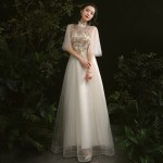 Elegant Floor-length Champagne Tulle Stand Collar Invisible Zipper Back Half Sleeves Formal Dress With Sequines New
