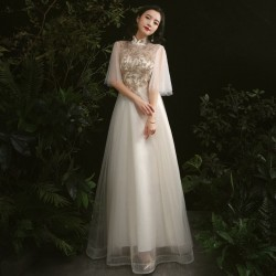 Elegant Floor Length Champagne Tulle Stand Collar Invisible Zipper Back Half Sleeves Formal Dress With Sequines